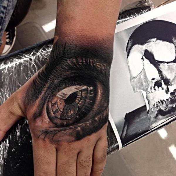 Realistic Hand Eye Tattoo by Drew Apicture