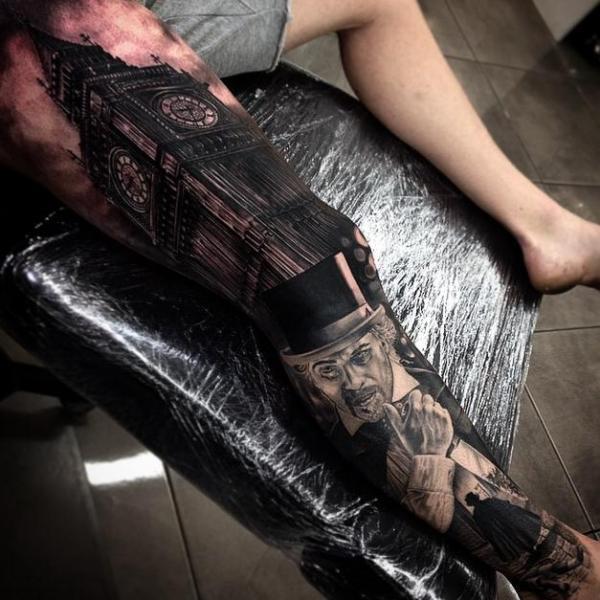 Tatuaggio Realistici Gamba Big Ben di Drew Apicture