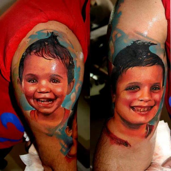Arm Portrait Realistic Children Tattoo by Samuel Potuček Tattoo
