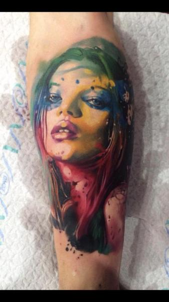 Arm Portrait Water Color Tattoo by Samuel Potuček Tattoo