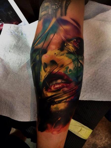 Arm Women Water Color Tattoo by Samuel Potuček Tattoo
