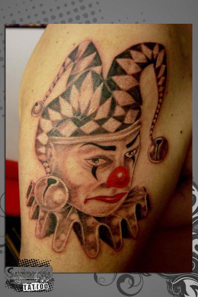 Shoulder Clown Tattoo by Synergik Tattoo