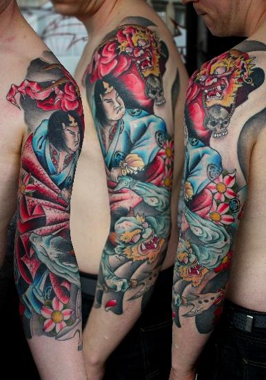 Tatuaje Brazo Japoneses Samurai por Custom Ink Tattoo