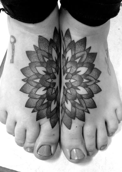 Foot Flower Geometric Tattoo by Custom Ink Tattoo