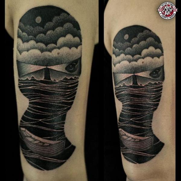 Lighthouse Sea Abstract Tattoo by Rock n Ink Tattoo