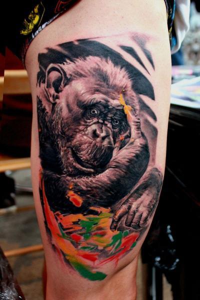 Monkey Thigh Tattoo by Rock n Ink Tattoo