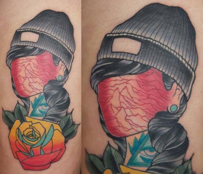 Flower Hat Abstract Tattoo by Last Angels Tattoo