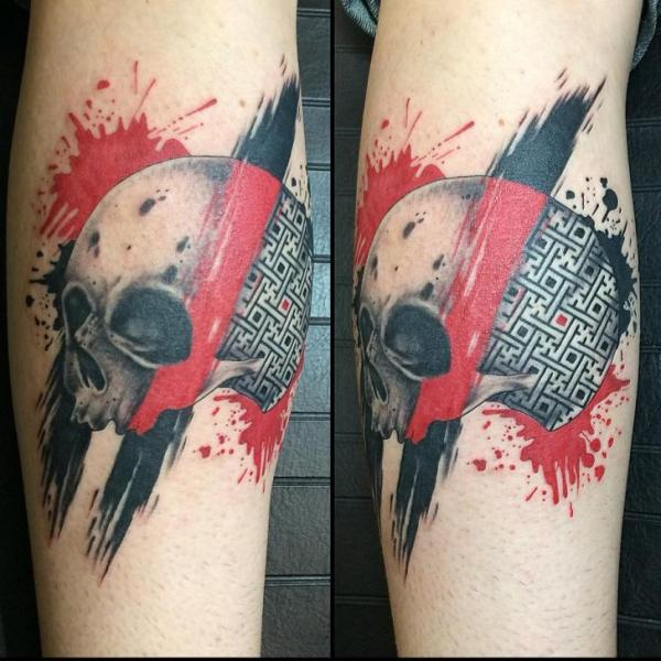 Arm Skull Trash Polka Tattoo by Last Angels Tattoo