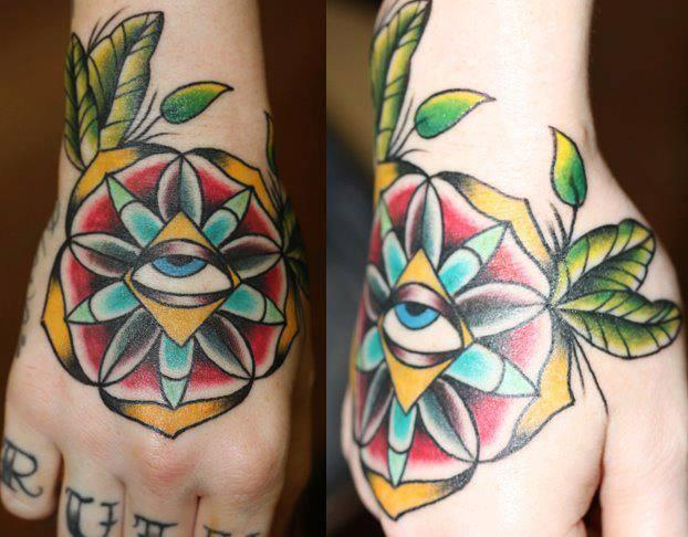 New School Flower Hand God Tattoo by Last Angels Tattoo