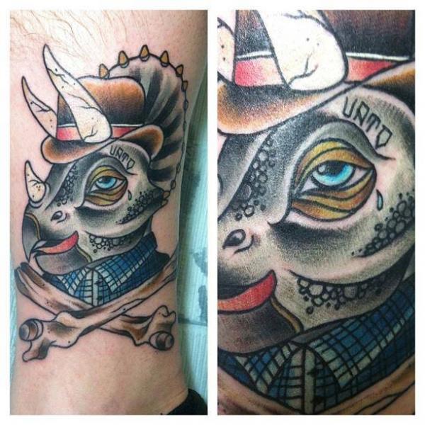 Leg Rhino Bone Tattoo by Last Angels Tattoo