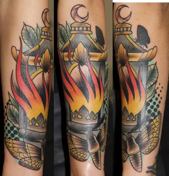 New School Lamp Moth Tattoo by Last Angels Tattoo