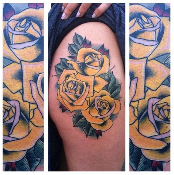 New School Blumen Oberschenkel Tattoo von Last Angels Tattoo