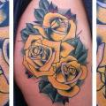 New School Flower Thigh tattoo by Last Angels Tattoo