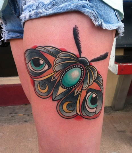 New School Moth Thigh Tattoo by Last Angels Tattoo
