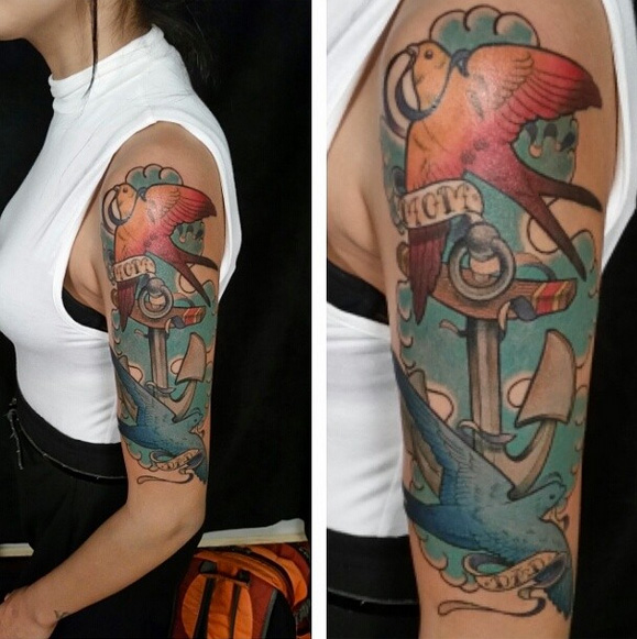 Arm Anchor Bird Tattoo by Anthony Ortega