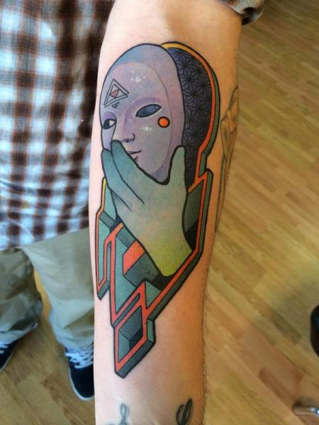 Arm Mask Abstract Tattoo by Anthony Ortega
