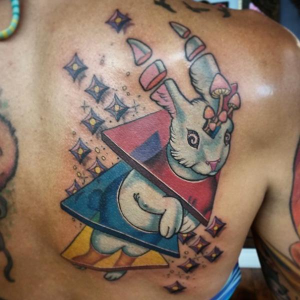 Fantasy Back Rabbit Tattoo by Anthony Ortega