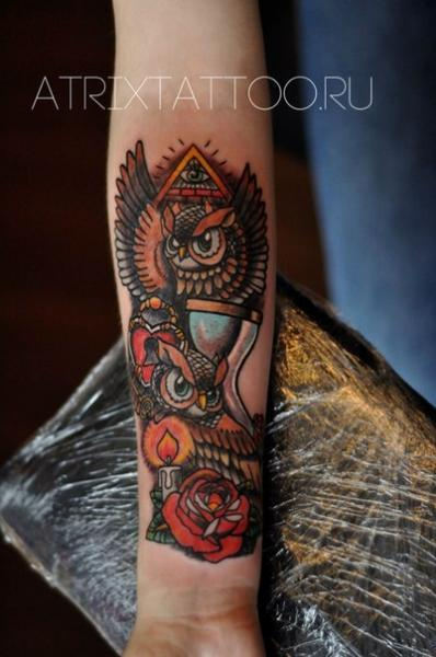 Arm New School Owl Tattoo by Atrixtattoo
