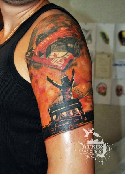 Shoulder Car Tattoo by Atrixtattoo