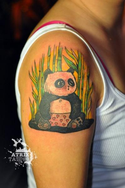 Shoulder Panda Tattoo by Atrixtattoo
