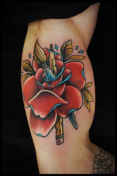 Arm Flower Pencil Tattoo by White Rabbit Tattoo