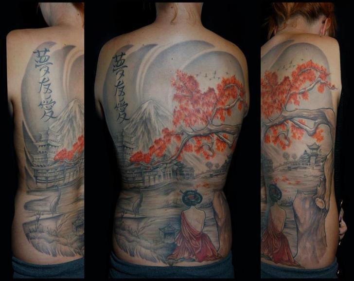Japanese Back Geisha Tree Tattoo by White Rabbit Tattoo