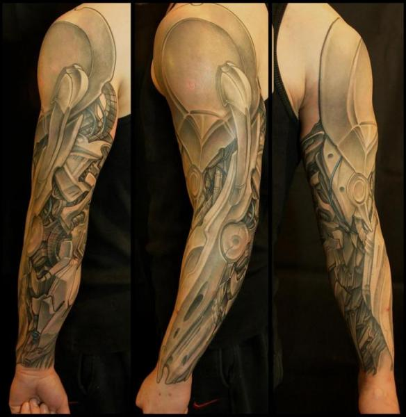 Arm Biomechanical Sleeve Tattoo by White Rabbit Tattoo