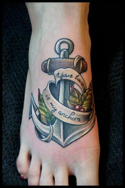 New School Foot Anchor Tattoo by White Rabbit Tattoo