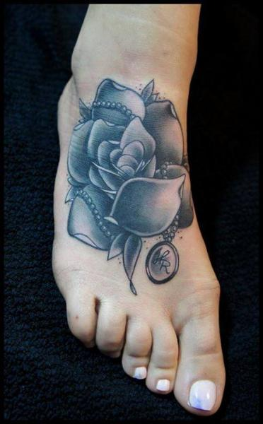 Foot Flower Rose Tattoo by White Rabbit Tattoo