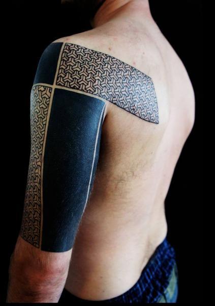 Shoulder Arm Geometric Black Tattoo by White Rabbit Tattoo