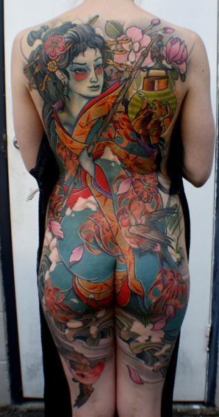 Japanische Rücken Po Geisha Tattoo von Dagger & Lark Tattoo