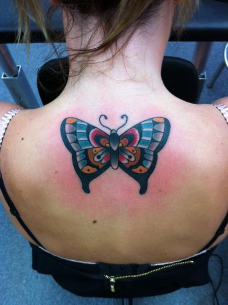 New School Back Butterfly Tattoo by Dagger & Lark Tattoo