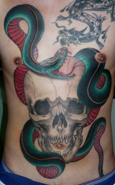 Snake Chest Skull Belly Tattoo by Dagger & Lark Tattoo