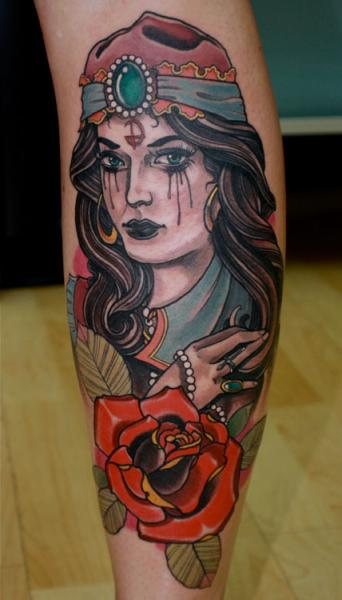 New School Calf Gypsy Tattoo by Dagger & Lark Tattoo