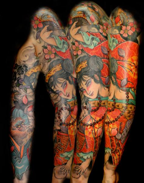 Japanese geisha sleeve tattoo by dagger lark tattoo - Tattoos geishas japonesas ...