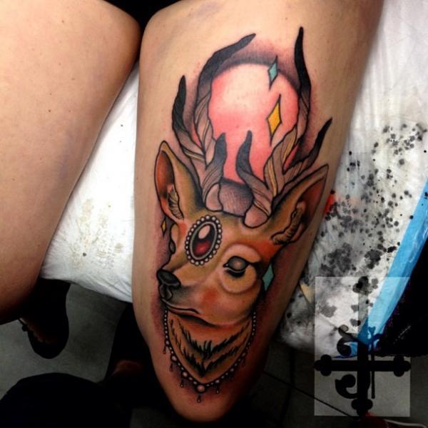 New School Thigh Deer Tattoo by Dagger & Lark Tattoo