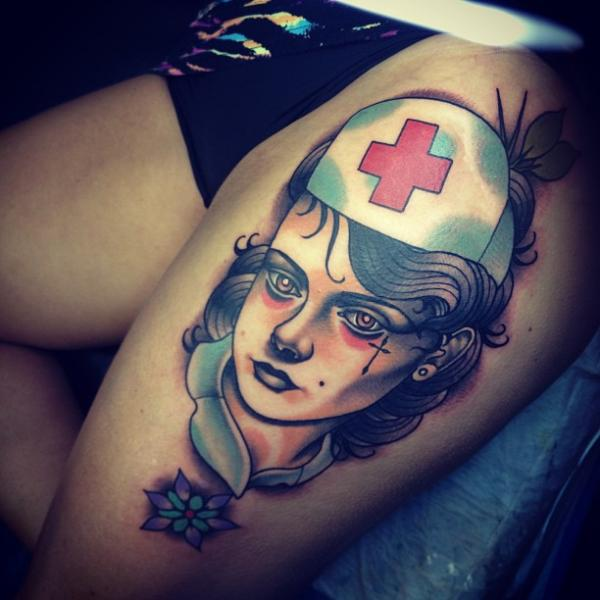 New School Nurse Thigh Tattoo by Dagger & Lark Tattoo