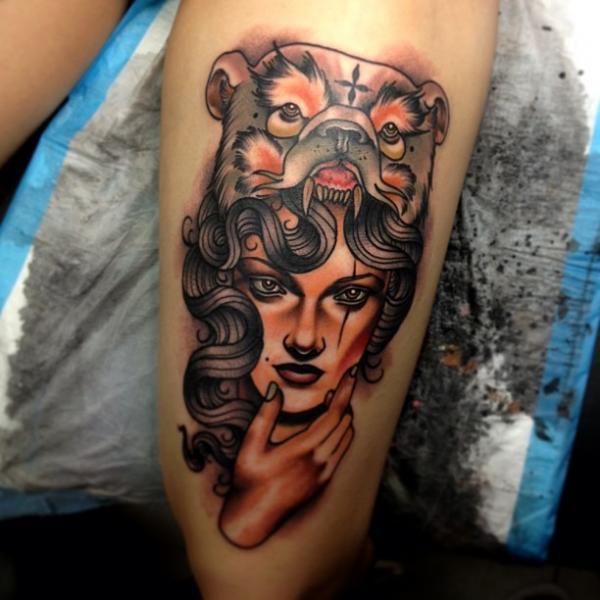 New School Bear Thigh Tattoo by Dagger & Lark Tattoo