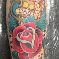 Arm Old School Flower tattoo by Devils Ink Tattoo