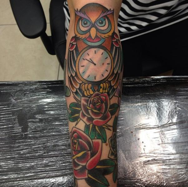 Arm Old School Owl Rose Tattoo by Devils Ink Tattoo