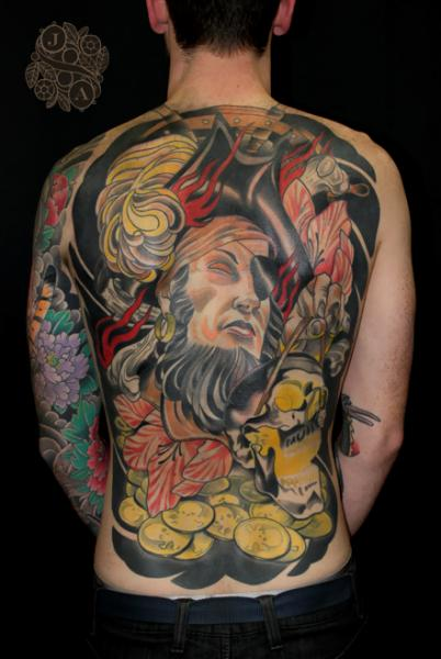 New School Back Pirate Tattoo by Devils Ink Tattoo