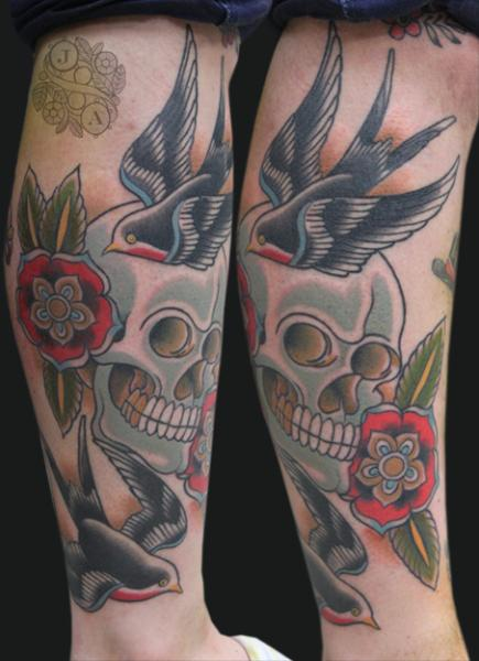 Old School Leg Skull Sparrow Tattoo by Devils Ink Tattoo