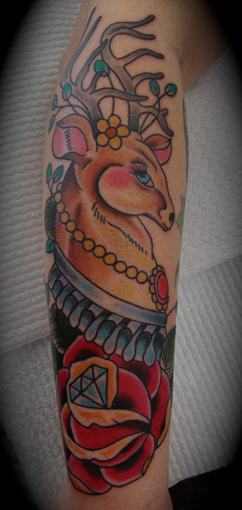 New School Flower Deer Tattoo by Devils Ink Tattoo