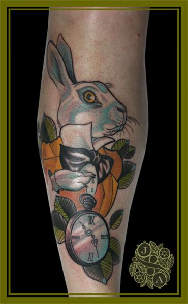Arm Rabbit Tattoo by Devils Ink Tattoo