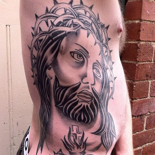 Side Jesus Religious Tattoo by Devils Ink Tattoo