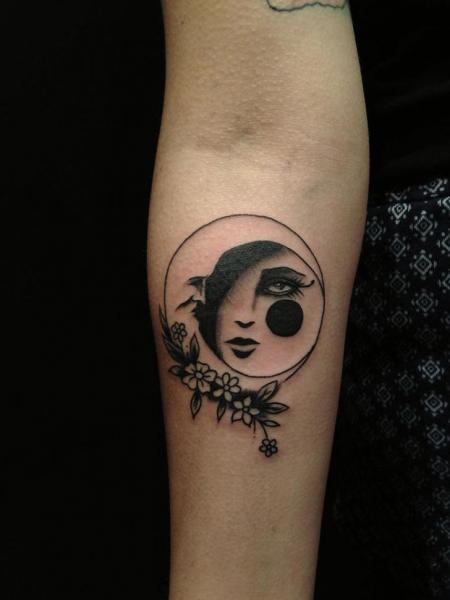 Arm Moon Tattoo by Hidden Moon Tattoo
