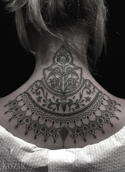 Back Neck Dotwork Decoration Tattoo by Hidden Moon Tattoo