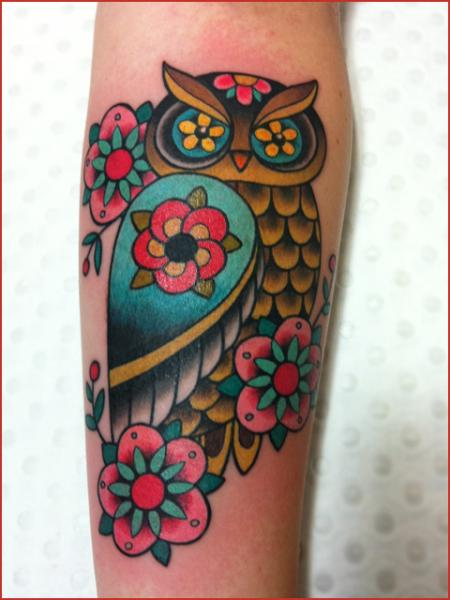 Arm New School Owl Tattoo by Chapel Tattoo