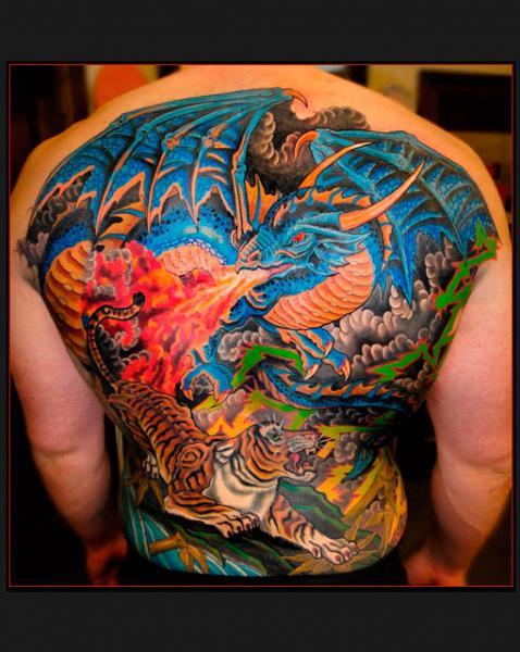 Fantasy Back Tiger Dragon Tattoo by Chapel Tattoo