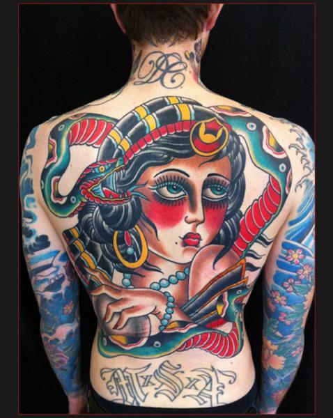 Old School Back Gypsy Tattoo by Chapel Tattoo